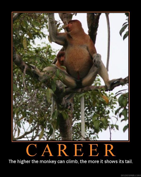 Jo højere aben klatrer op, jo mere viser den sin røv...
